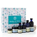 Neal's Yard Remedies Mother & Baby Gift Box: Baby Balm, Mothers Balm, Pure Baby Oil, Mother Massage Oil, Baby Bath & Shampoo, Mothers Bath Oil, Organic Cotton Flannel