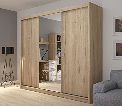 235 cm wide mirrored 3 sliding door wardrobe