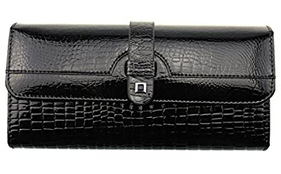 Tibes luxe Cuir Femmes Portefeuille Cuir Véritable Pochette Besace in Noir/rouge