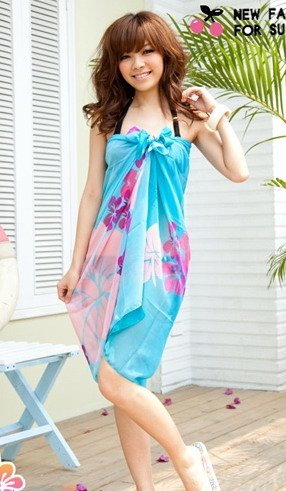 Tamari Blue Flower Print Sarong Cover Up Beach Wrap One Size