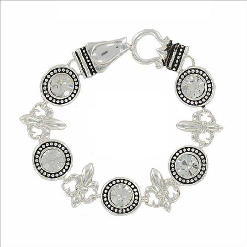 JOA Fleur De Lis W Crystal Stone Bracelet #038372