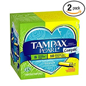 Tampax Pearl Compak Duo pack, Regular/Super, Unscented, 18 Count (Pack of 2)$5.08