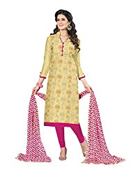 PS Enterprise Light Yellow Cotton Embroidery Work Unstitched Dress Material With Dupatta - 22DLPH2210