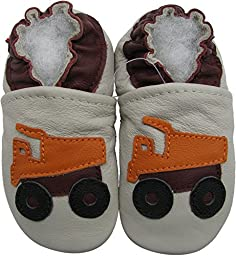 Carozoo baby boy soft sole leather infant toddler kids shoes Dump Truck Cream 2-3y