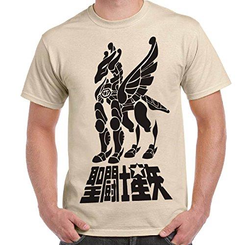 T-Shirt Uomo Maglietta Con Stampa Cavalieri Dello Zodiaco Saint Seya Pegasus CHEMAGLIETTE!, Colore: Sabbia, Taglia: L