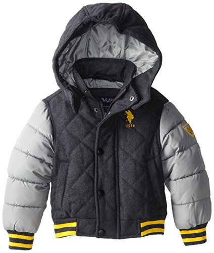 U.S. Polo Association Little Boys' Diamond Quilted Jacket With Quilted Sleeves And Detachable Hood, Charcoal, 5/6