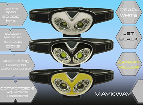 Maykway-High-Intensity-LED-Headlamp-for-Camping-Hunting-Hiking-Power-Outtages-Hands-Free-Light-Battery-Powered-Light-In-Sporty-Black-Yellow-or-White-Colors