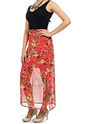 Myrah Women's Pleated Skirt (Amz006_Red_L)