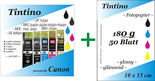 4 Set = 20 kompatible PGI 550 Cli 551 XL - 4 x bk pbk c m y - Canon Pixma iP MG MX + Chip + Füllstandsanzeige + 50 Blatt Fotokarten 10 x 15 - 180g