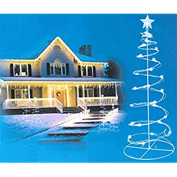 Set of 2 Cool White LED Lighted Outdoor Spiral Christmas Trees Yard Art 3, 4