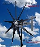 2000 Watt 9 Blade Missouri GeneralTM Freedom II Wind Turbine (Black, 24/48 Volts)