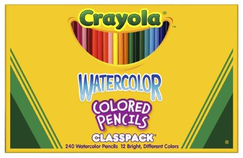 Crayola 68-4240 Crayola Watercolor Wood Pencil Classpack, 3.3 Mm, 12 Asstd Clrs, 240 Pncls/Box