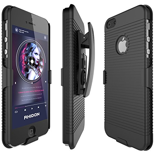 iPhone 5S Case, Rhidon Super Slim Hard Shell Layer Holster Open-Face Sport Case with Holster Kickstand and Locking Belt Swivel Clip for Apple iPhone 5 5S SE (Black) (Iphone 5 Case With Clip compare prices)