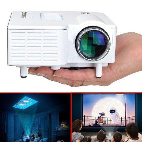 """Aometech Uc28 24W Pro Portable Hdmi Mini Home Led Projector 60"""" Cinema Theater-White"""
