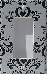 Black and Gray Damask Light Switch Plate and Outlet Covers / Damask Nursery Wall Decor (Rocker Light Switch Plate Cover)
