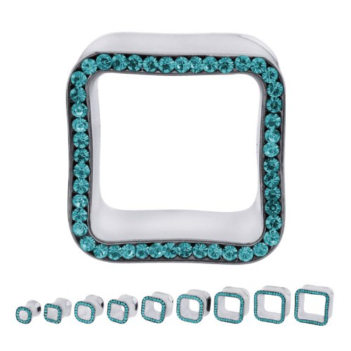 316L Surgical Steel Cubic Zirconia Blue Zircon Square Multigem Plugs - 7/8