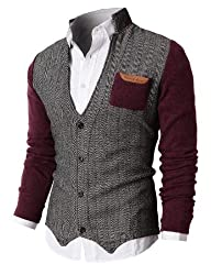 H2H Mens Herringbone Cardigan Sweater…