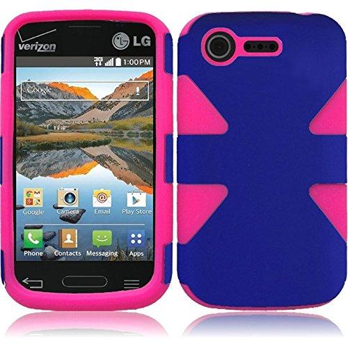 Hr Wireless Dynamic Slim Hybrid Case For Lg Optimus Zone 2 L34C Fuel - Retail Packaging - Blue/Hot Pink