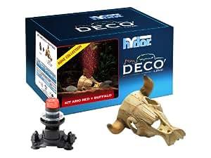 Hydor Deco Bone Collection Aquarium Ornament, Buffalo Skull with Ario 2 Moonlight, Red Air Bubbles