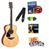 Yamaha FS720S Natural Small Body Folk Acoustic Guitar Bundle with Instructional DVD, Picks, Strap, Strings, Pick Card, and Polishing Cloth