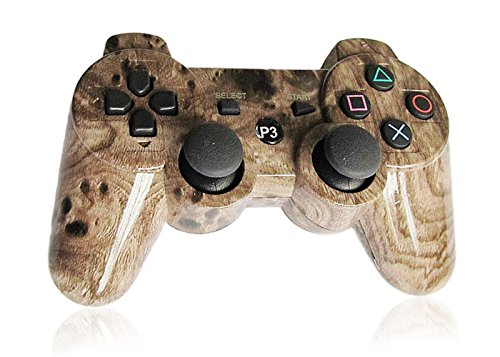 XFUNY® Premium Wireless Bluetooth Six Axis Dualshock Game Controller for Sony PlayStation 3 PS3 (Wood-grain Brown)