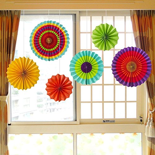 Fiesta Colorful Paper Fans Decorations Accessory Southwestern Pattern Design for Party,Event,Home Decoration (Set of 6) by lanlan (Mexican Fan Decorations compare prices)
