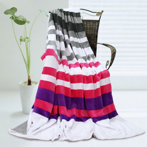 Onitiva - [Stripes - Chic Style] Soft Coral Fleece Patchwork Throw Blanket (59 By 78.7 Inches) front-357785