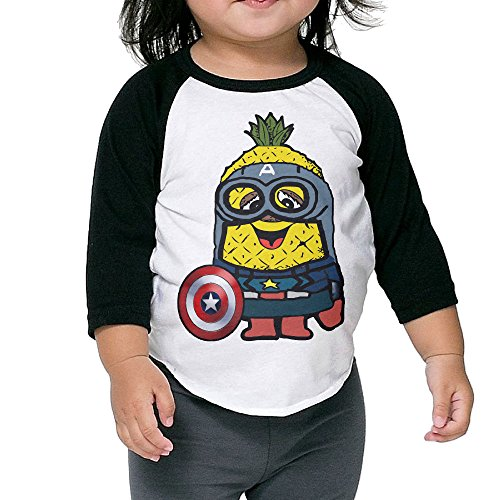 xjbd-kids-boysgirls-pineapple-3-4-blended-baseball-tee-size-4-toddler