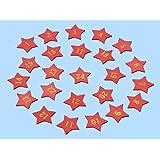 24 rote Holzsterne mit Zahlen 1-24 für Adventskalender