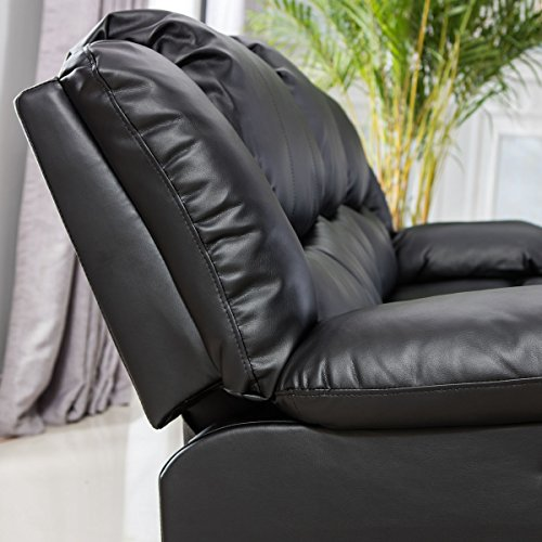 Giantex 3Pc Black Motion Sofa Loveseat Recliner Set Living Room Bonded Leather Furniture (Love-Seat, Black)