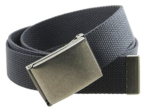 "Canvas Web Belt Flip-Top Antique Silver Buckle/Tip Solid Color 50"" Long 1.5"" Wide (Charcoal)"