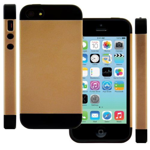 Celljoy Apple Iphone 5 5S Case Protective [Vivid Hybrid] Slim Fit Dual Protection Cover [Retail Packaged] (Gold / Black)