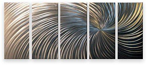 décoration murale métal moderne art peint à la main contemporain peinture abstraite - Silver Swirl