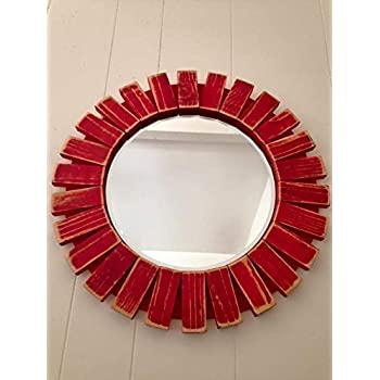 Sunburst Wall Mirror Round Wood Frame Red 22'' Flamingo Red