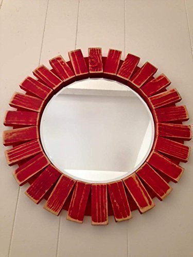 Sunburst Wall Mirror Round Wood Frame Red 22'' Flamingo Red 1