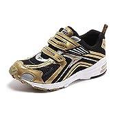 瞬足(シュンソク) キッズ スニーカー (子供靴) 左右非対称ソールモデル JJ272 ブラック/ゴールド 22.5cm