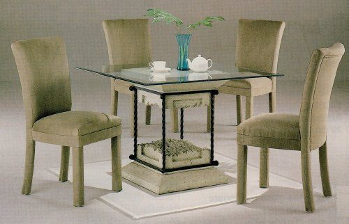 Cheap 5pc Faux Stone Glass Top Dining Table & Tan Parson Chairs Set (VF_dinset-7065-4550TAN)