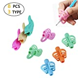 Pencil Grips, Ergonomic Training Children Pencil Holder Pen Writing Aid Grip Posture Correction Tool for Kids Children Toddlers Adults for Lefties or Righties (8PCS) (Color: NO.5 8pcs 3type)