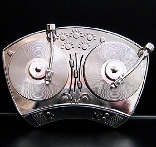Hip-Hop-Double-Spinner-Buckle-DJ-Turntable-Grtelschnalle