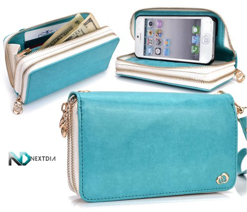 Great Sale Apple iPhone 5 Runway Clutch/Purse by KroO [Aqua Blue] Smartphone Case/Wallet with Attachable Wristlet and a Complimentary NextDia ™ Velcro Cable Strap
