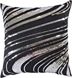"Decorative Silver Sequins Floral Throw Pillow Cover 18"" Black"