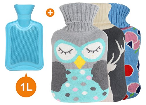 HomeIdeas Classic Rubber Hot Water Bottle with 3 Knitted Covers, Perfect for Quick Pain Relief and Comfort (Blue (1L)) (Hot Water Bottle For Pain compare prices)