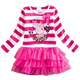 LEMONBABY Peppa Pig Cartoon Little Girls Spring Fall Long Sleeve Tutu Dress (5Y, PINK)
