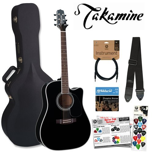 Takamine Jb-Ef341Sc-Q1-Kit Pro Series Gloss Black Acoustic Electric Guitar Kit With Takamine Hard Case, Planet Waves Strap, Planet Waves Cable, Daddario Ej16 Strings And Planet Waves/Go-Dps 16 Pick Sampler