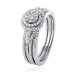 0.75 CT. White GH-I2 Natural Diamond Bridal Collection 18K White Gold Wedding Ring Set With Matching Band