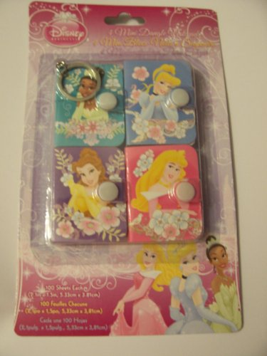 Disney Princess Mini Dangle Notepads ~ Set of 4 Notepads with Secure Closures & Keyrings - 1
