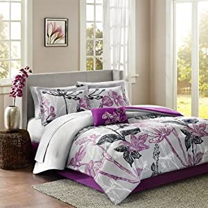 Madison Park Essentials Claremont Complete Bed and Sheet Set - Purple - Full