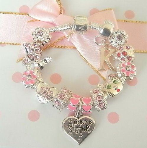 Treasured Charms & Beads Personalised Sparkling Pink & Silver Childrens/Girls Charm Bracelet Little Sister
