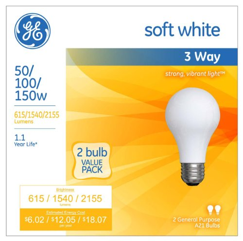 GE Lighting 97763 50/100/150-Watt 615/1540/2155-Lumen A21 3-Way Light Bulb, Soft White, 2-Pack