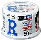 TDK データ用CD-R 700MB 48倍速対応 ホワイトワイドプリンタブル 50枚スピンドル CD-R80PWDX50PA